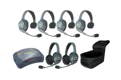 Eartec Co HUB642 6-Person Hub System with 4 Single Headsets, 2 Double Headsets, Batteries & Case HUB642