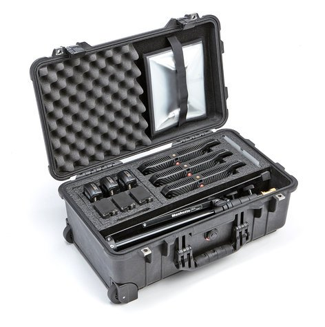 Litepanels Lykos Bi-Color Flight Kit 3 Lykos BiColor LEDs with Battery Bundle and Pelican 1510 Custom Foam Case 935-3101