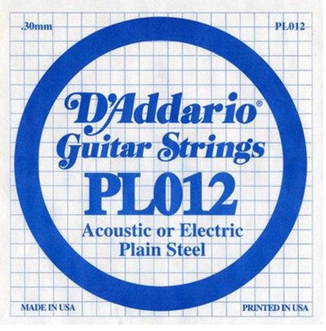 "D`Addario PL012 .012"" Plain Steel Guitar String PL012"