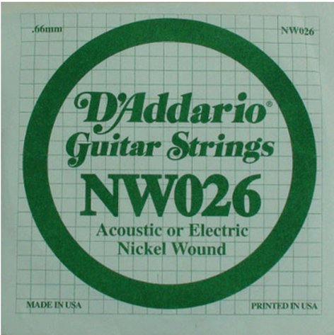 """D`Addario NW026 .026"""" Nickel Wound Guitar String NW026"""