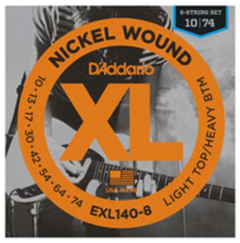 D`Addario EXL140-8 Light Top Heavy Bottom 8-String Guitar Strings EXL140-8