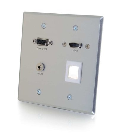 Cables To Go RapidRun VGA + 3.5mm Audio Double Gang Wall Plate with HDMI Pass Through and One Keystone 60117