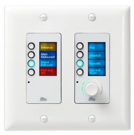 BSS EC-8BV-US-WHT Ethernet Controller with 8 Buttons and Volume Control, White EC-8BV-US-WHT
