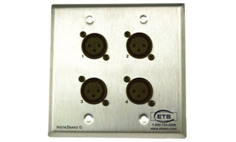 ETS InstaSnake PA202FWP Double Gang Brushed Steel Wall Plate, (4) XLRF to 110 Punchdown PA202FWP