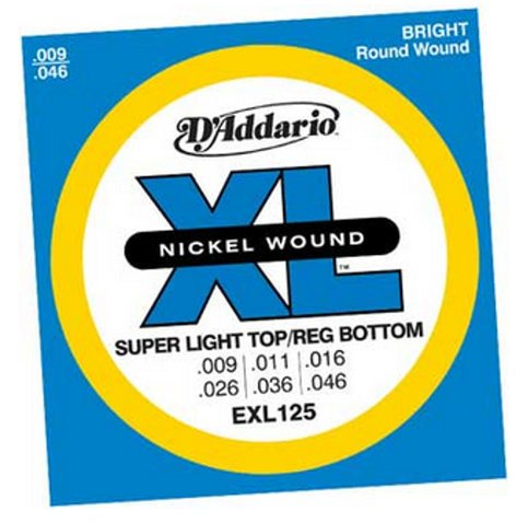D`Addario EXL125 Super Light Top/Regular Bottom XL Electric Guitar Strings EXL125
