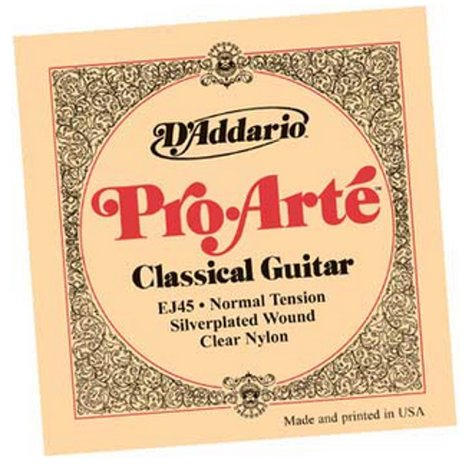 "D`Addario EJ45 .028-.043"" ProArte Silver Normal Tension Nylon Classical Guitar Strings EJ45"