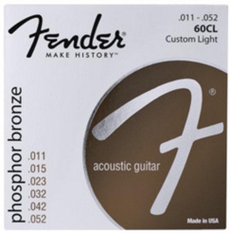 Fender 60CL .011-.052 Custom Light Phosphor Bronze Acoustic Guitar Strings 60CL