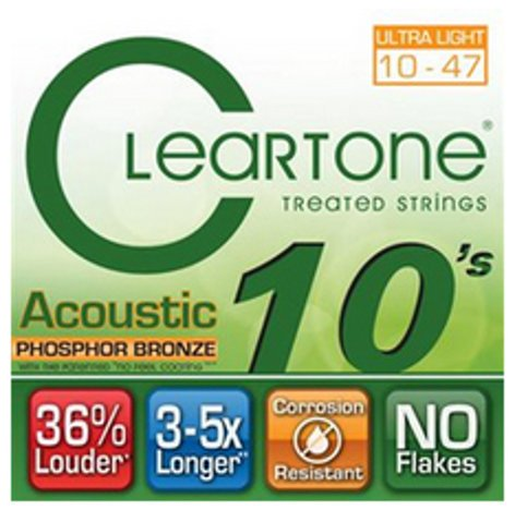 Cleartone Guitar Strings 7410 Ultra Light Coated Acoustic Guitar Strings 7410-CLEARTONE