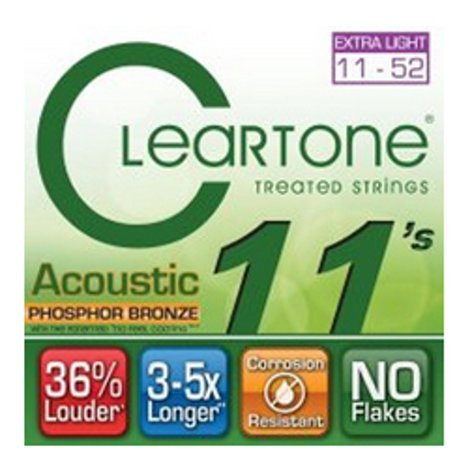 Cleartone 7411-CLEARTONE Extra Light Acoustic Guitar Strings 7411-CLEARTONE