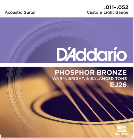 D`Addario EJ26 Custom Light Phosphor Bronze Acoustic Guitar Strings EJ26