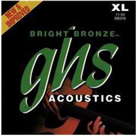 GHS Strings BB20X Extra Light Bright Bronze 80/20 Copper-Zinc Acoustic Guitar Strings BB20X