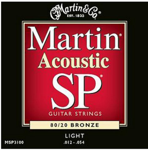 Martin Strings MSP3100 Light Martin SP Acoustic 80/20 Bronze Guitar Strings MSP3100