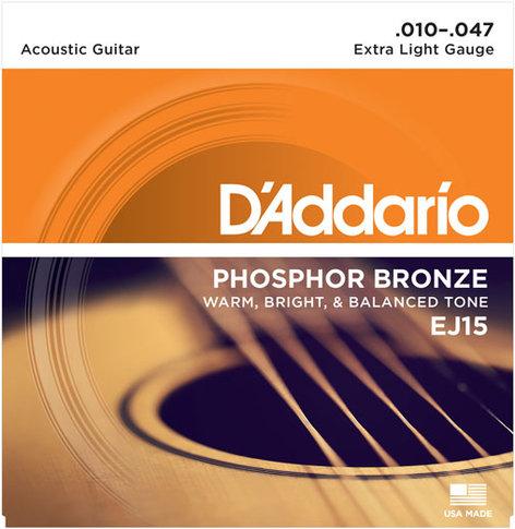 D`Addario EJ15-3D 3-Pack of Extra Light Phosphor Bronze Acoustic Guitar Strings EJ15-3D