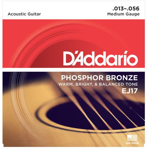 D`Addario EJ17-3D 3-Pack of Medium Phosphor Bronze Acoustic Guitar Strings EJ17-3D