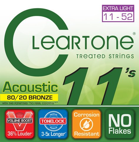 Cleartone Guitar Strings 7611-CLEARTONE Extra Light Acoustic Guitar Strings 7611-CLEARTONE