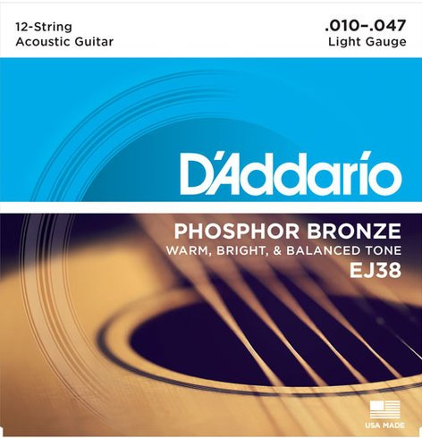 D`Addario EJ38 Light Phosphor Bronze 12-String Acoustic Guitar Strings EJ38
