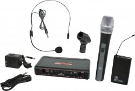 Galaxy Audio EDXR/HHBPS EDXR Receiver,  HH38 Hand Held Transmitter, MBP38 Body Back Transmitter, and HS13-UBK Headset Microphone EDXR/HHBPS