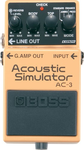 Boss AC-3 Acoustic Simulator Pedal, Advanced Electric-to-Acoustic Guitar Modeling AC-3