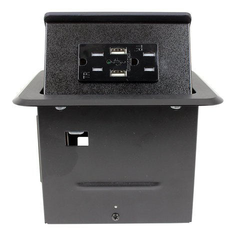 FSR TBCHRGBLK Tilt 'N Select Table Box with (2) USB Chargers TBCHRGBLK