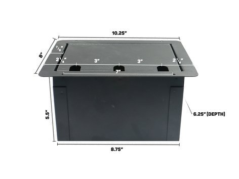 Elite Core Audio FBL12+AC  Recessed Floor Box with 12 XLRF + Duplex AC with Back Box FBL12+AC