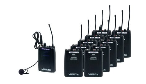 VocoPro SilentPA-TOUR10 Wireless Intercom/Tourguide System, 10 Receivers, 1 Transmitter, with IE9 Ear Buds SILENT-PA-TOUR-10