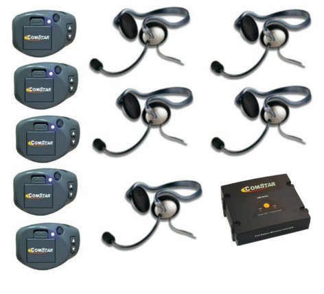 Eartec Co CPKMON-5 Full Duplex Wireless System with (5) ComPak Beltpacks, (1) Comstar Com-Center and (5) Monarch Headsets CPKMON-5
