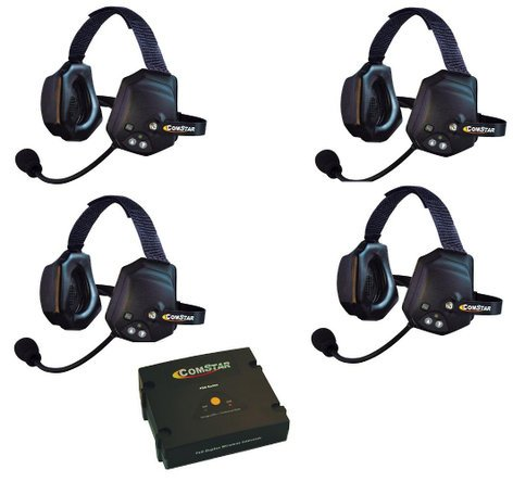 Eartec Co ETXC-4  4- Person Xtreme All in one Headsets and 1 Comstar Com-Center Transceiver ETXC-4