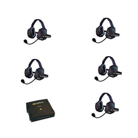 Eartec Co ETXC-5 5- Person Xtreme All in one Headsets and 1 Comstar Com-Center Transceiver ETXC-5