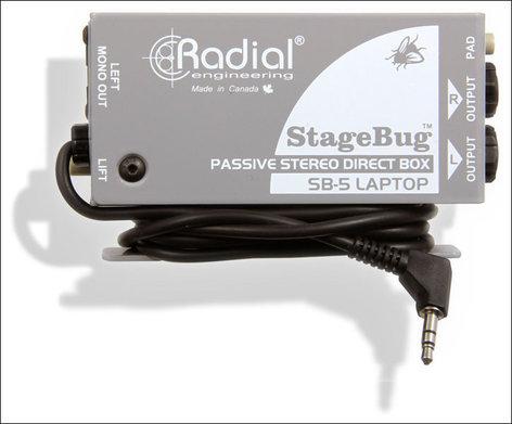 Radial Engineering StageBug SB-5 Sidewinder Compact Stereo DI for Laptop Computers STAGEBUG-SB5-LAPTOP