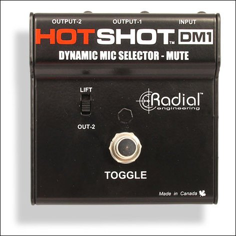 Radial Engineering DM1-HOTSHOT Microphone Signal Splitter / Mute Switch DM1-HOTSHOT