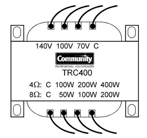 Community TRC400 400W Line Transformer for 70/100/140V TRC400