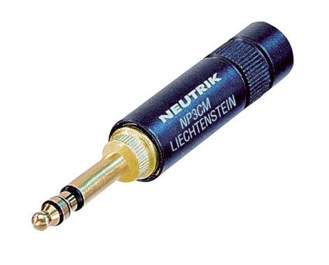 Neutrik NP3CM-B MIL/B-Gauge Stereo Plug in Black NP3CM-BLACK