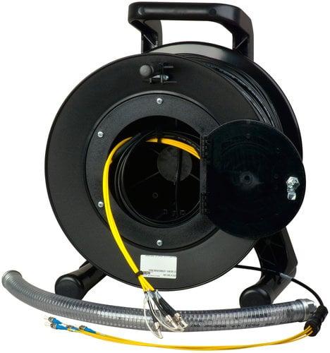 Camplex 4-Channel Fiber Optic Tactical Snake on Reel 500 ft Fiber Optic Snake with ST Single Mode Connectors HF-TRP04ST-0500
