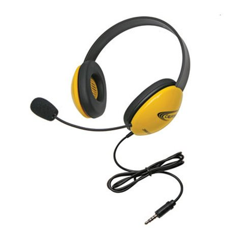 Califone International 2800-YLT Yellow Listening First Stereo Headset with To Go Plug 2800-YLT