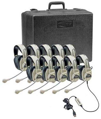 Califone 3066USB-10  Deluxe Stereo Headset Classroom Pack  3066USB-10