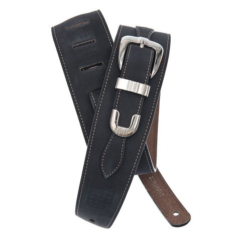 Planet Waves 25LBB00 Black Leather Guitar Strap with Buckle 25LBB00