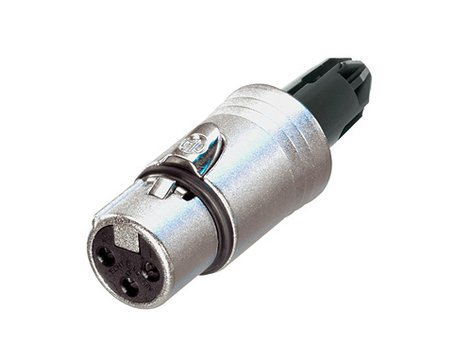 Neutrik NC3FXX-WOB  3-Pin Female XLR Cable Connector, Nickel Housing, Silver Contacts, without Boot NC3FXX-WOB