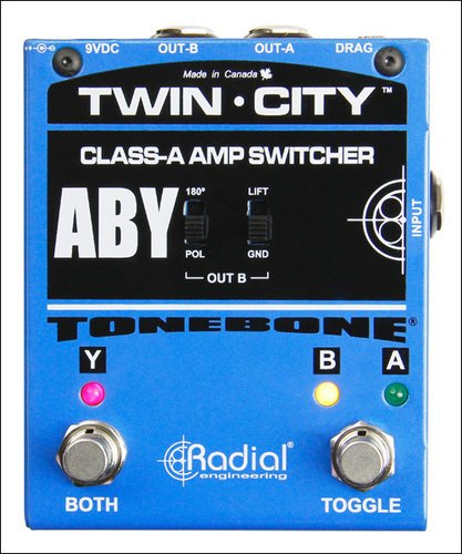 Radial Engineering Twin-City Bones Active AB/Y Buffered Switcher Pedal TWIN-CITY-BONES