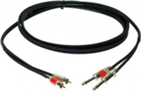 "Pro Co DKQR-10 10 ft. Dual 1/4"" TS Male to RCA Male Excellines Patch Cable DKQR10"