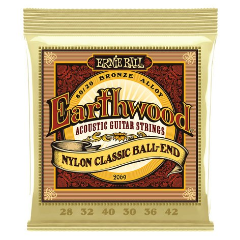 Ernie Ball P02069  Earthwood Folk Nylon, Clear & Gold Ball End, 80/20 Bronze Acoustic Guitar Strings P02069