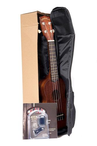 Kala Brand Music Co. MK-S Pack Natural Finish Makala Series Soprano Ukulele Package MK-S/PACK