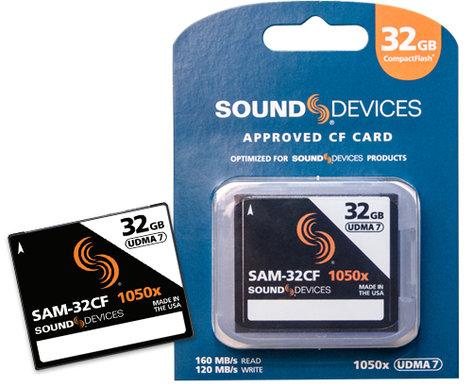 Sound Devices SAM-32CF  32GB CompactFlash Card, 160MB/s Read, 120MB/s Write SAM-32CF