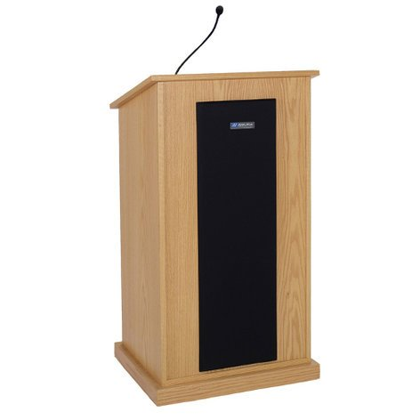 AmpliVox SW470  Wireless Chancellor Lectern with Wireless Receiver, Speakers, Bluetooth, and Wireless Mic SW470