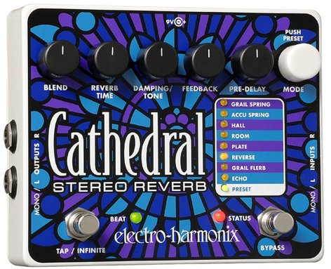Electro-Harmonix CATHEDRAL Stereo Reverb Pedal, PSU Included CATHEDRAL