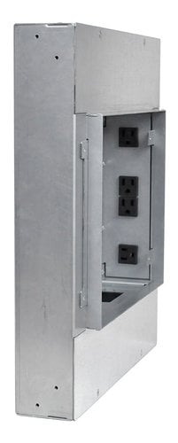 FSR, Inc PWB-450-BLK Large Format Wall Box with (4) AC Outlets, (3) 1-Gang Plates, and (1) IPS PWB450BLK