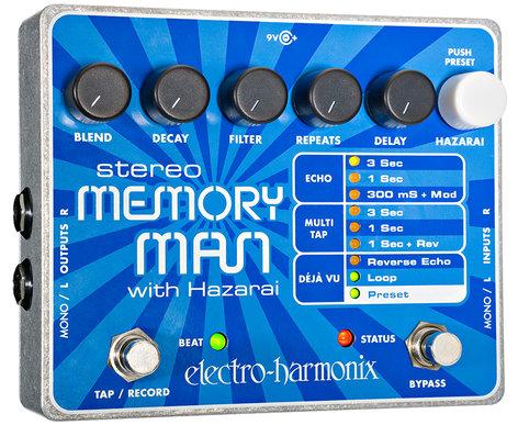 Electro-Harmonix STEREOMEMORYMANW/HAZ Stereo Memory Man with Hazari Digital Delay/Looper Pedal, PSU Included STEREOMEMORYMANW/HAZ