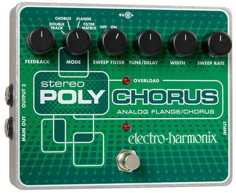 Electro-Harmonix Stereo Polychorus Analog Chorus/Flanger/Slapback Echo Pedal with Power Supply STEREOPOLYCHORUS