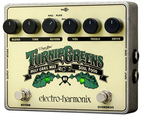 Electro-Harmonix Turnip Greens Soul Food Overdrive/Distortion and Holy Grail Reverb Effects Pedal TURNIP-GREENS