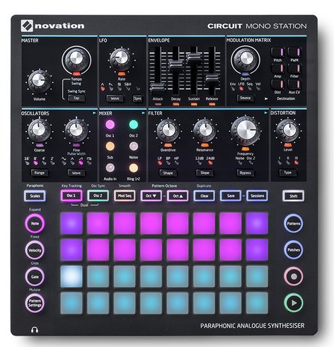 Novation CIRCUIT-MONO-STATION Circuit Mono Station Paraphonic Analogue Synthesiser with Three Sequencer Tracks CIRCUIT-MONO-STATION