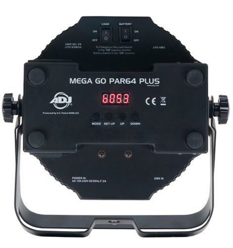 ADJ MEGA-GO-PAR64-PLUS  LED Par, Low Profile, Battery Power with RGB & UV LED MEGA-GO-PAR64-PLUS